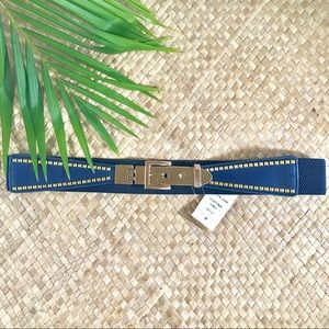 Navy blue gold elastic belt. Small stud border